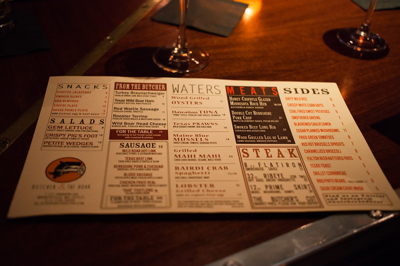 Menu from Butcher & The Boar