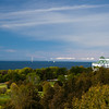 Mighty Mac and Grand Hotel as seen from Fort Mackinac