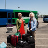 Cyn and her mom waiting at the car rental.