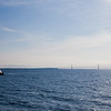 Mackinac Bridge and Mackinac Island lighthouse from Ferry