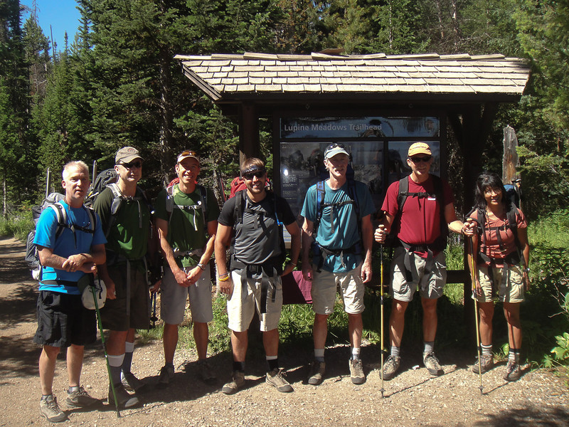 At the Lupine Meadows Trailhead. Elevation: 6,700 feet above sea level. Our destination for the day: the Lower Saddle between Middle Teton and Grand Teton, seven miles away, elevation 11,600 asl. (Photo: Ellen Fernley)