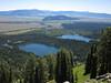 Far below, Bradley Lake, Taggart Lake, and the Jackson Hole valley.
