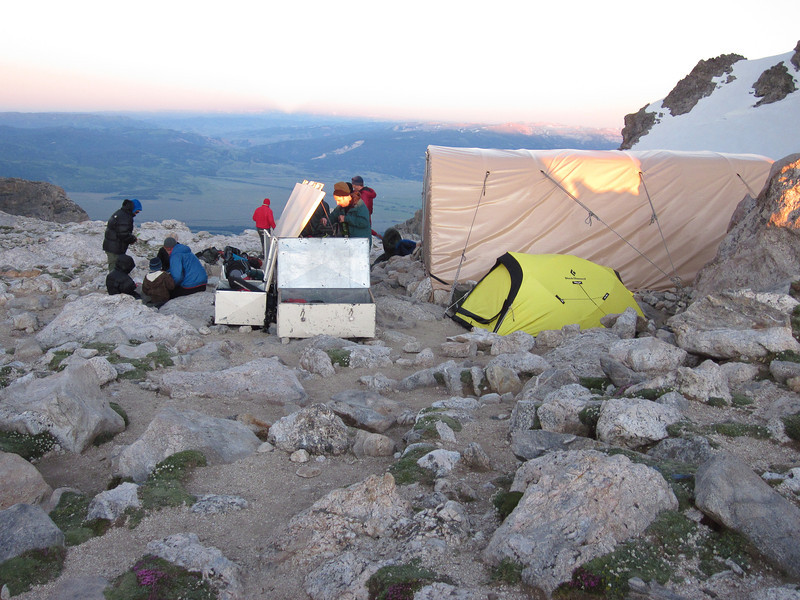 We ate dinner, packed our day packs for the climb the next day, and tried to get some sleep. Everything not inside the hut or a tent is packed inside the large metal canisters to protect against curious marmots and other animals.