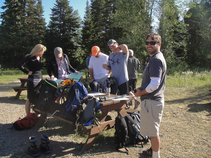 The next day we met at the Exum Mountain Guides headquarters for the first day of the Multi-Pitch Climbing course. Our guides Renny and Dave issued our climbing gear (helmets, harnesses and ropes) and we took the ferry across Jackson Lake to the Hidden Falls area. (Photo: Elise Fernley)