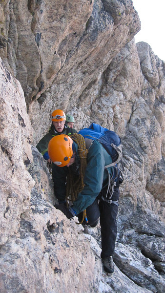 """We climbed along ledges and up through chimneys in the rock. Much of the time we were either on belay or """"walking in coils"""" -- tied together with about 6 feet of rope in between us, and the rest of the rope coiled in our hand. (Photo: Kyle Fernley)"""