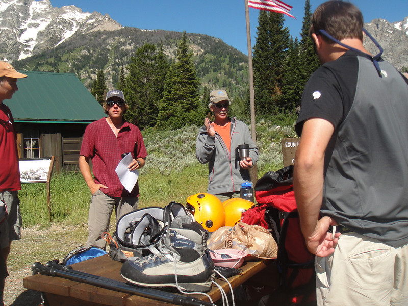 Next Eric and Dave went over the list of equipment to make sure we all had what we would need for the climb. (Photo: Randy Fernley)