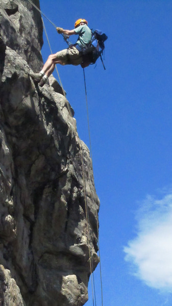 Lou near the top of the rappel.(Photo: Kyle Fernley)