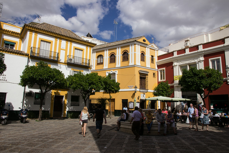 And small plazas like this one where we stopped for coffee . . .