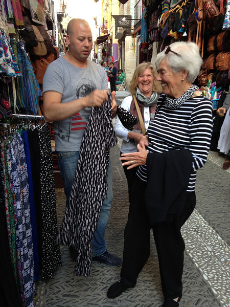After putting Hannah and August on the plane back to Barcelona, we went out for dinner, stopping in the bazaar for Mom to drive a hard bargain for some clothes!