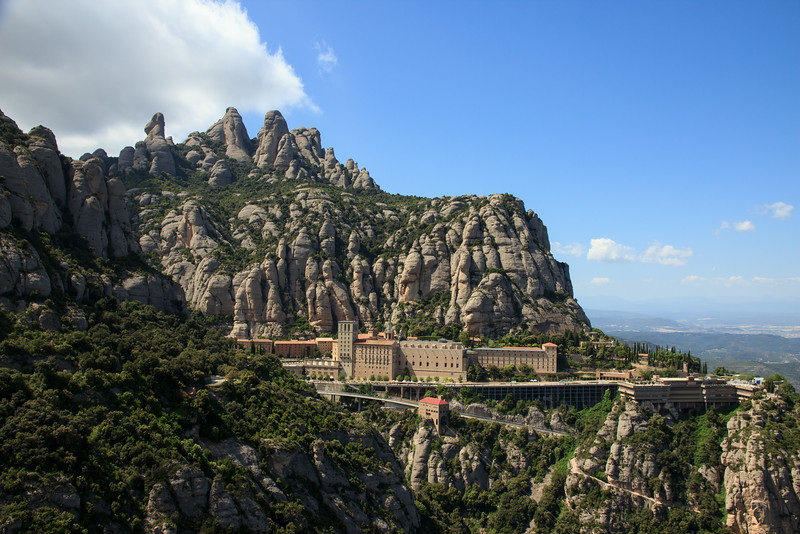 The Abbey sits just below the top of the mountain and is constructed mostly of pink sandstone.