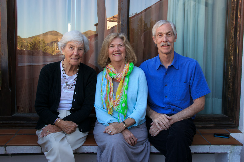 On the terrace on our last night in Granada before we go out for dinner . . .