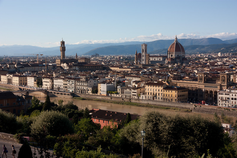 Piazzale Michelangelo is on a hilltop overlooking Florence, near the Boboli Gardens -- a great place to watch the sunset over the city.