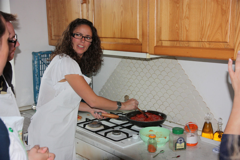 Everyone got a chance to cook in the simple kitchen,