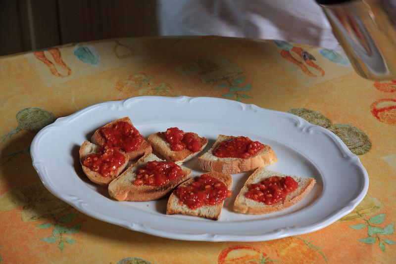 And also a tomato bruschetta.