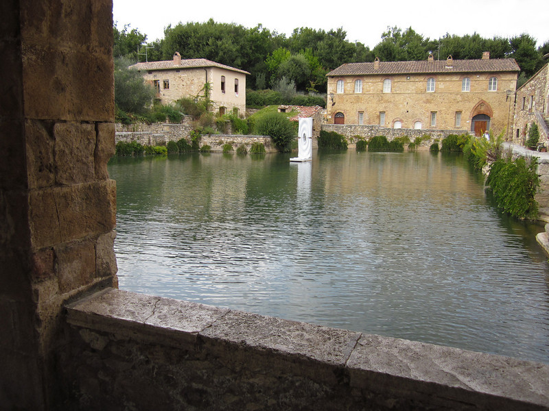 It was a short drive to Bagno Vignoni, a thermal bath and spa that has been famous since Roman times for the warm waters that come bubbling up into this pool. Next door is a more modern facility where you can pay a day rate to soak in the therapeutic waters and relax poolside -- which we did!