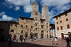 San Gimignano is a walled city sometimes known as the medieval Manhattan because of 70 towers which once stood inside the city walls. Today 14 of the towers remain. The Piazza della Cisterna is one of two main piazzas at the center of the city, which is closed to traffic.