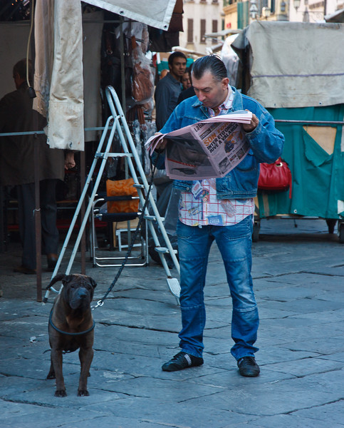The next day Lou was out early, as the street vendors set up their carts and Florentines began their day . . .