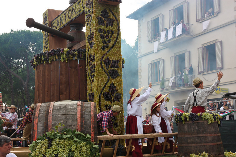 Then the dramatic floats showing how the grapes are harvested and processed . . .