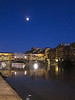 After the sunset, we walked back down and across the Arno, where the moon was rising over the Ponte Vecchio. We found a restaurant on the way back to our B and B and celebrated our first day in Tuscany.