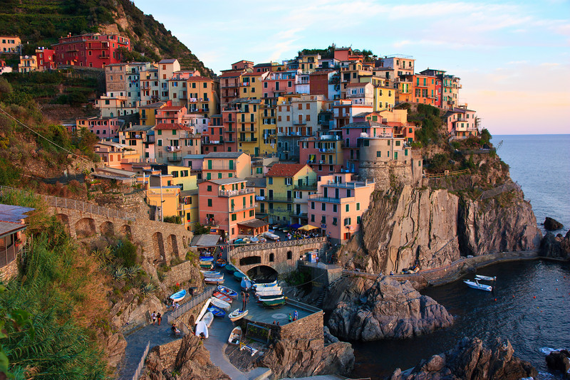 After a 3 hour train ride from Florence, we arrived in Manarola, one of the five villages along the Northwest coast of Italy that are known as Cinque Terre. The villages are all located a few miles from each other along the rocky coastline and are linked by train, ferry, and hiking trails.