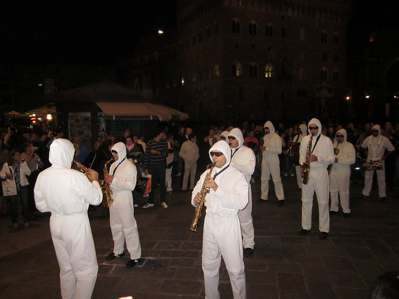 As we were finishing dinner, a troup of street musicians assembled and started playing Klezmer-like jazz . . .