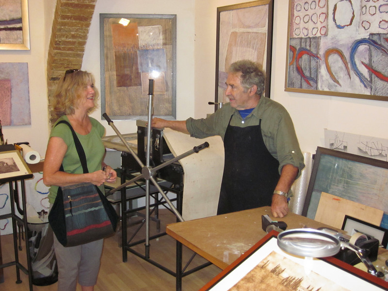 We stopped in a print shop and bought a small print from an artist from Britain who teaches art in Siena.