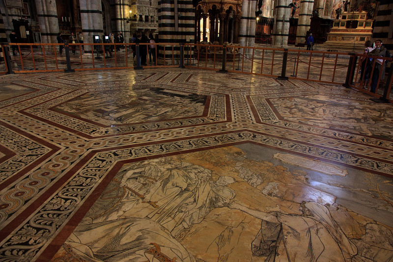 But the Duomo is probably most famous for its inlaid marble floors, which took almost 200 years to complete and are covered most of the year to protect them.