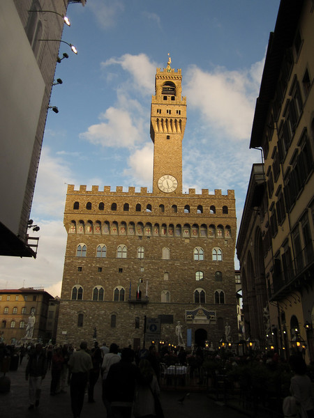 That night we ate dinner beneath the tower of the Palazzo Vecchio, Florence's city hall . . .