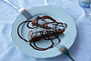 . .  and for dessert we split a piece of Torta Caprese al Cioccolato Fondente a Mandorle -- a delicious chocolate torte.