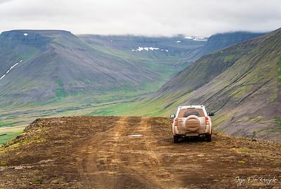 Driving down Mount Sandafell, Westfjords