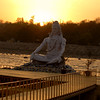 Rishikesh: sunset over the Ganga next to the aarthi at the Pramarth Niketan Ashram.