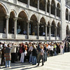 The throngs are waiting to get into the Blue Mosque.
