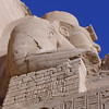 "Temple of Ramses II (""Large Temple""), dedicated to Ra-Hurakhto, Amon, and Ramses II, looking up, next to entry"