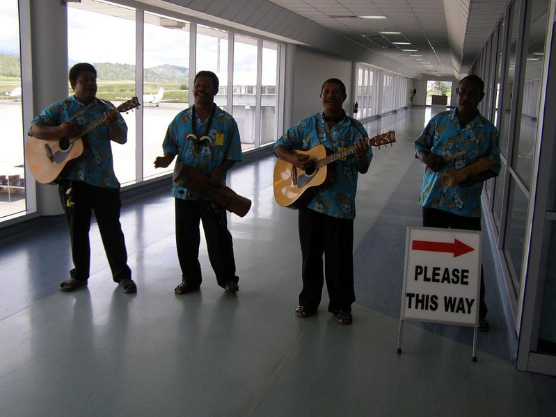 at the airport - a musical welcome to PNG