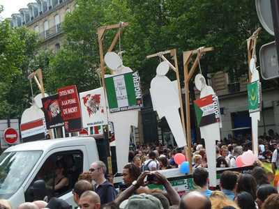 gay pride parade float showing countries that have the death penalty