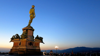 The most famous naked man in the world - Michelangelo's David (one of two copies in the streets of Florence, the oriignal is in one of the museums.)
