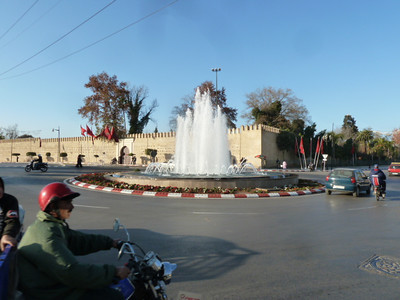 Ville Nouvelle: rue Hassan II, with royal palace in the background