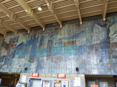 mosaic at Gliwice train station