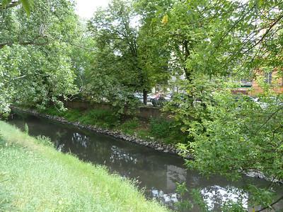 street scene - river going through Gliwice