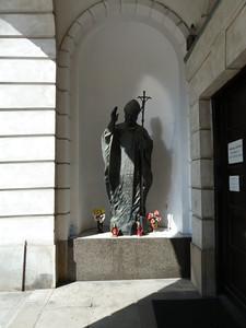 Statue of Pope John Paul II near Maciej and Will's place