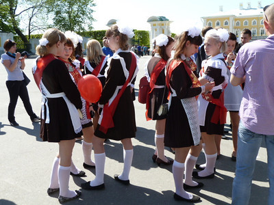 Peterhof, Lower Park high school graduates on the last day of school