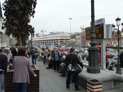 in front of train station