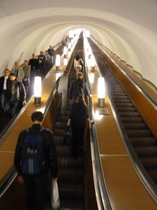 Metro escalators: For those of you who may be familiar with the ridiculously long DC Metro elevators such as Dupont Circle and Rosslyn, this was *easily* TWICE as long!