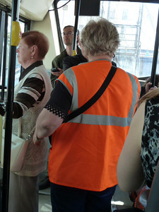 fare collector on bus
