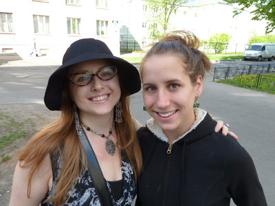 Johanna and Katie (now called by her Russian name, Katya) on the street in front of Sergey's home