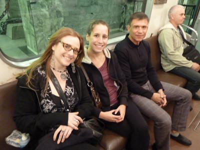 Johanna, Katie, and Sergey on Metro car on line M3