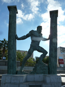 Hercules: Ceuta was referred to as Abyla. On the other side, Gibraltar was referred to as Calpe. These are the two Pillars of Hercules that span the Mediterranean at this point.