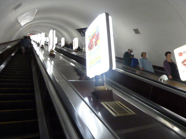 Kyiv Metro - long escalators