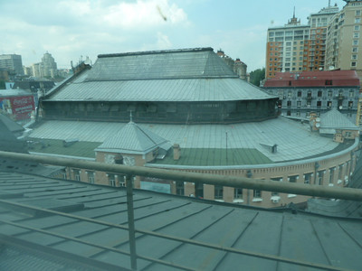 view of Bessarabski Market from Sky Art Cafe, vegetarian restaurant at Pinchuk Art Centre