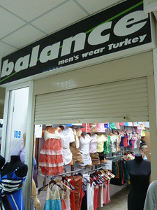 """The sign says that it is """"men's wear Turkey."""" Check out the clothing inside the store. I never saw men wear clothing like that in Turkey."""